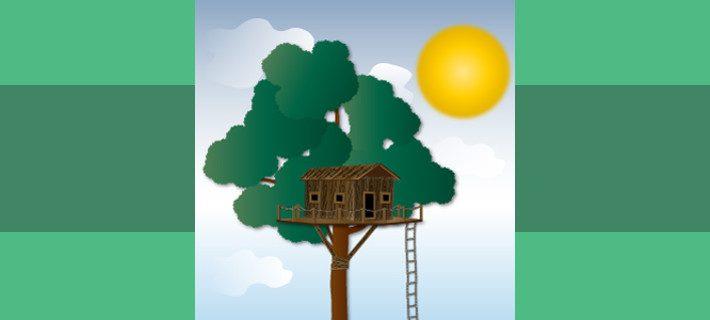 Holzhaus mit Strickleiter in einer Baumkrone