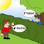 Comic: Zwei Personen streiten an einer Hecke über den Baum
