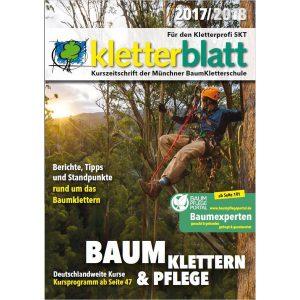 Deckblatt des Kletterblattes 2017/2018 mit einem Kletterer im Baum