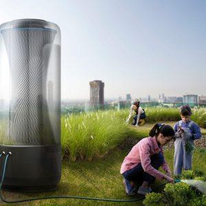 Grafik einer Familie im Garten der Zukunft