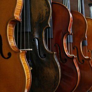 Hintereinander stehende Geigen
