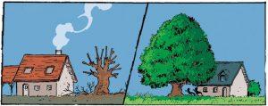 Comiczeichnung mit einem kranken und gesundem Baum neben einem Haus