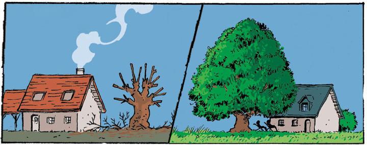 Comic mit einem kahlen und einem grünen Baum