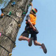 Ein Mann hängt mit einer Hand an einem am Baum befestigten Klettergriff
