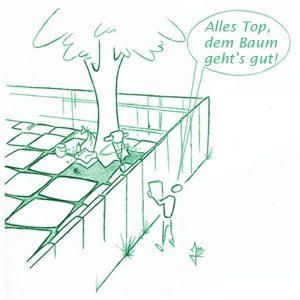 """Zeichnung: Zwischene einem Mann und einer Person steht ein Zaun. Der Man schaut in die Korne das Baumes und sagt: """"Alles Top, dem baum geht's gut"""". Die Wurzeln des Baumes, die der Mann nicht sehen kann, sind aber einbetoniert."""
