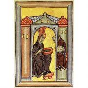 Altes Gemälde aus dem Mittelalter von Hildegard von Bingen