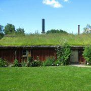 Holzhaus mit einem Grasdach. Nur die Fassade hebt sich von der Umgebung ab.