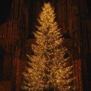 Festliche geschmückter Weihnachtsbaum vor einer Kirche
