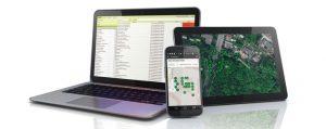 Pc, Smartphone, Tablet mit laufenden Programm zu Baumkontrolle