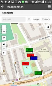 App auf einem Smartphone mit einer Karte