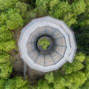 Vogelperspektive auf einem kreisrunden Turm im Wald