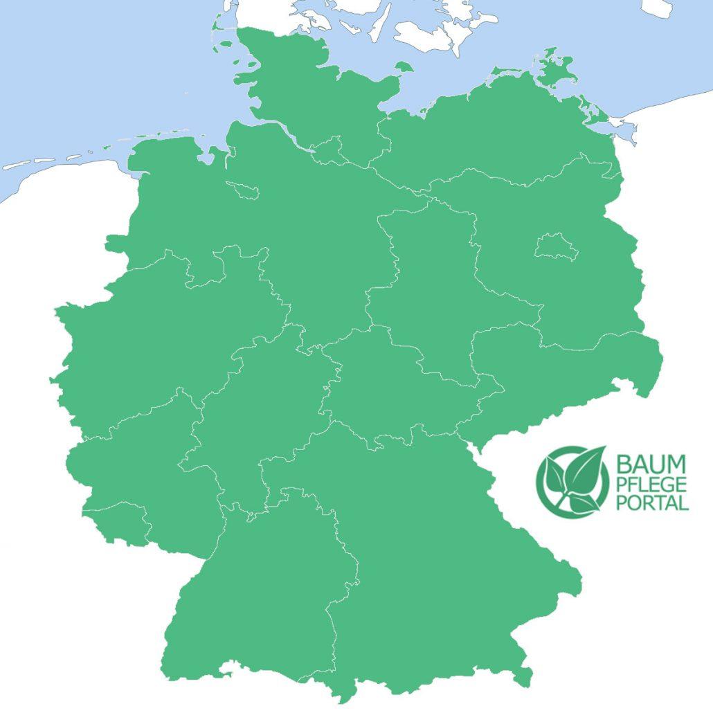 Deutschlandkarte mit Standorten der 18 Baumwipfelpfade